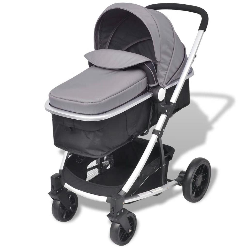 yorten Carro de beb/é Plegable Carrito 2 en 1 Cuna de Viaje vers/átil Ruedas bloqueables 97 x 49 x 101 cm Gris y Negro