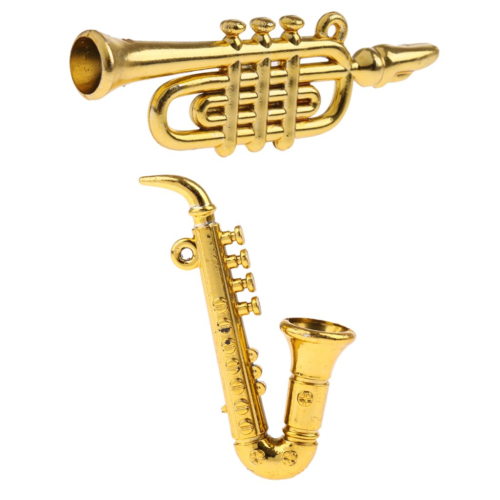 Homyl 2pcs Musical Instrument Models 1/12scale Dollhouse Miniatures Curved Pipe & Saxophone Model