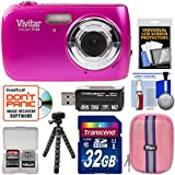 Vivitar ViviCam F126 Digital Camera (Pink) 32GB Card + Case + Tripod + Kit