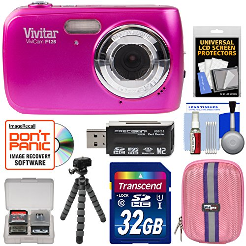 Vivitar ViviCam F126 Digital Camera (Pink) with 32GB Card + Case + Tripod + Kit Vivitar Vivicam