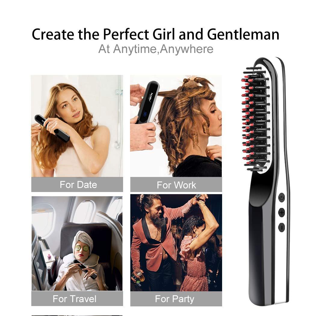 Beard Straightener Brush, Suntee Hair Straightening Brush with Cordless/Anti Scald/Auto Shut Off/Mini Sized for Travel/Home, 2 in 1 Multifunctional Hair Comb Curling Iron for Men Women by Suntee (Image #8)