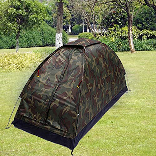 Nesee Portable Folding Outdoor Dome Woodland Camo Camping Tent,Easy Assembly, Durable Fabric Full Coverage Rain Fly Micro Mosquito Mesh