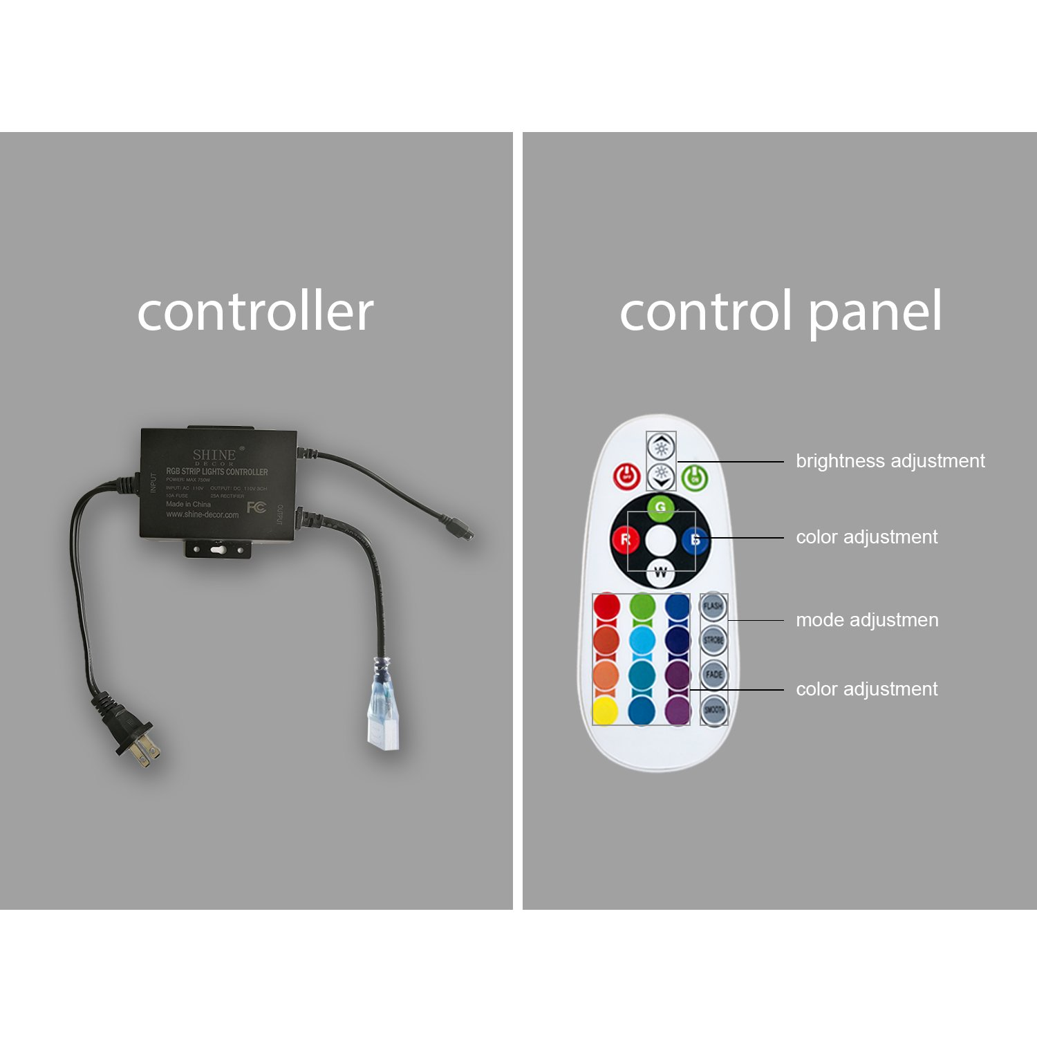 shine decor Power Supply Adapter with IR Receiver +24 Keys Remote Control, 2pc end Cap, 5pc 5mm Heat shrinkable Tube, 5pc pin,1pc Connector for Shine Décor LED RGB neon Lights only