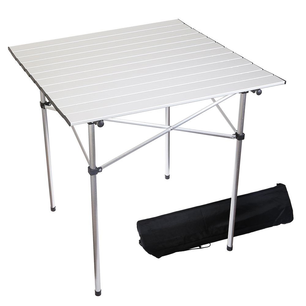 Forbidden Road Aluminum Folding Camping Table Lightweight Portable Picnic Table with Carry Bag Stable Durable Easy Set up for Patio Garden BBQ Beach Fishing Outdoor & Indoor - Silver