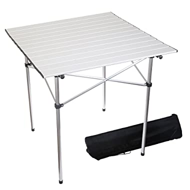 Forbidden Road Portable Aluminum Folding Camping Table (27.5  L x 27.5  W x 27.5  H) Lightweight Picnic Table with Storage Bag, Stable Durable Easy Set Up for Outdoor & Indoor - Silver