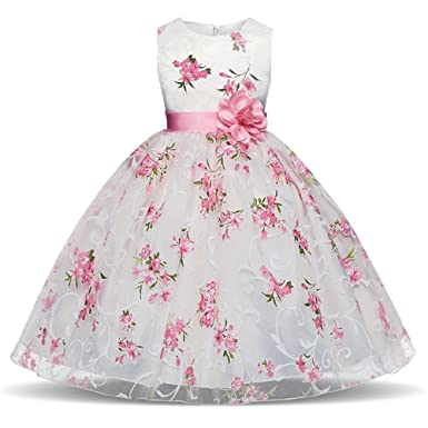 97250111b7424 Berngi Baby Girls Floral Flower Princess Dress for Wedding Party Kid  Dresses Toddler Girl Birthday Costume