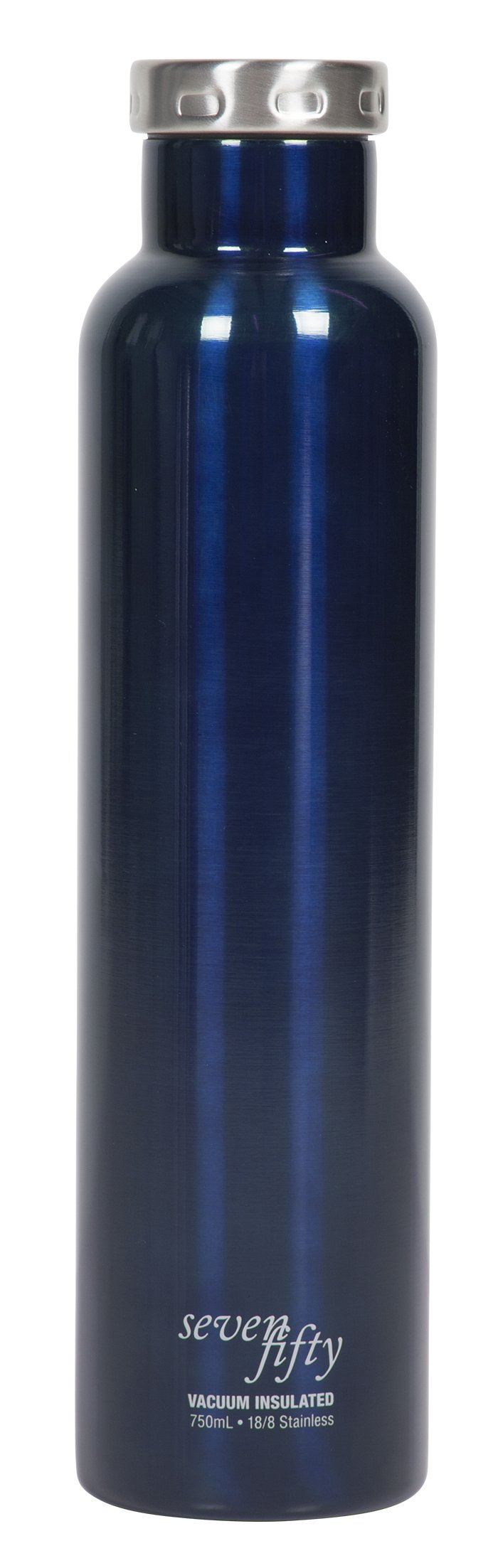 Fifty/Fifty Seven Fifty Double Wall Vacuum Insulated Wine Growler, 18/8 Stainless Steel, 750ml, Gloss Blue