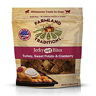 Farmland Traditions USA Made 3 lbs. Turkey, Sweet Potato, Cranberry Soft Jerky Bite Dog Treats
