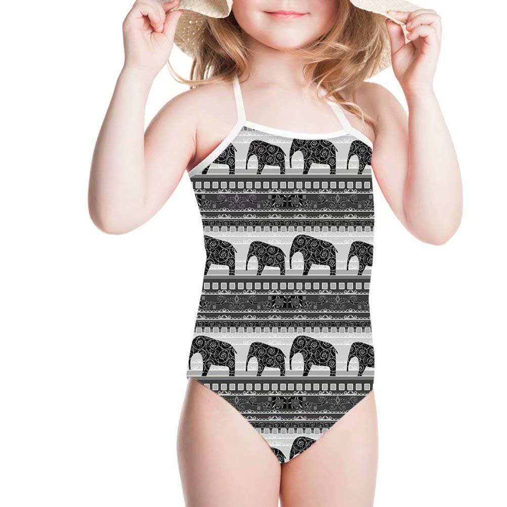 UFDIS One Piece Swimsuits for Toddler Girls Cute Patterned Swimwear Beach Bathing Suit