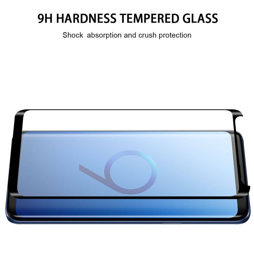 WengTech Galaxy S9 Screen Protector, 3D Curved 9H Hardness Bubble Free Fully Adhesive Case Friendly Ultra-clear Tempered Glass Screen Protector Film for Samsung Galaxy S9 (2 Pack)