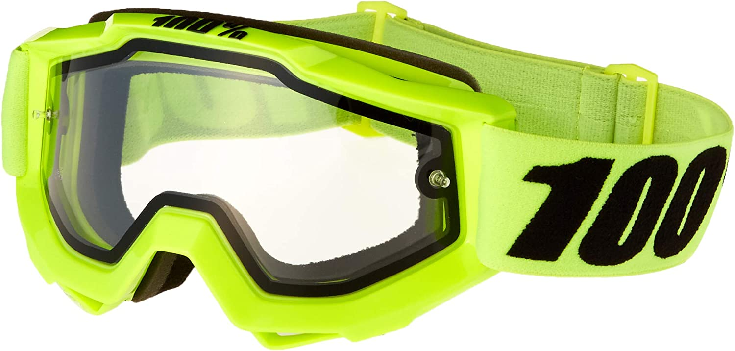 100% Unisex-Adult Speedlab (50202-004-02) ACCURI Enduro Moto Goggle Fluo Yellow Dual (Clear Lens, One Size)