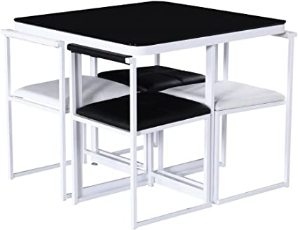 Stowaway Hgg Tavolo E Sedie Tavoli E Sedie Da Cucina Per Piccoli Spazi Salvaspazio Tavolo E Sedie Black Chairs Amazon It Casa E Cucina