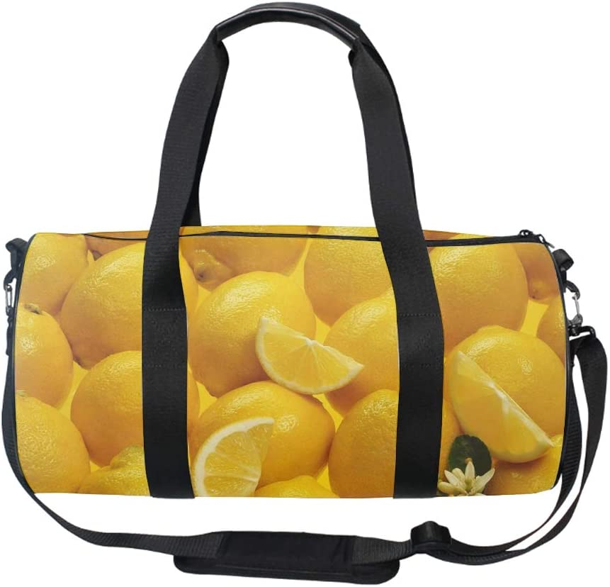 Big Lemon Gym Sports Bag for Men and Women with Compartment 17.6 x 9 x 9 ininch