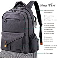 HapTim Multi-function Large Baby Diaper Bag Backpack W/Stroller Straps-Insulated Bottle Pockets-Changing Pad,Stylish & Durable with Anti-Water Material(Dark Gray-5284) from HapTim