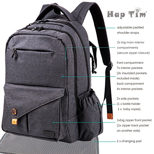haptim multi function large baby diaper bag backpack w stroller straps insulated bottle pockets. Black Bedroom Furniture Sets. Home Design Ideas