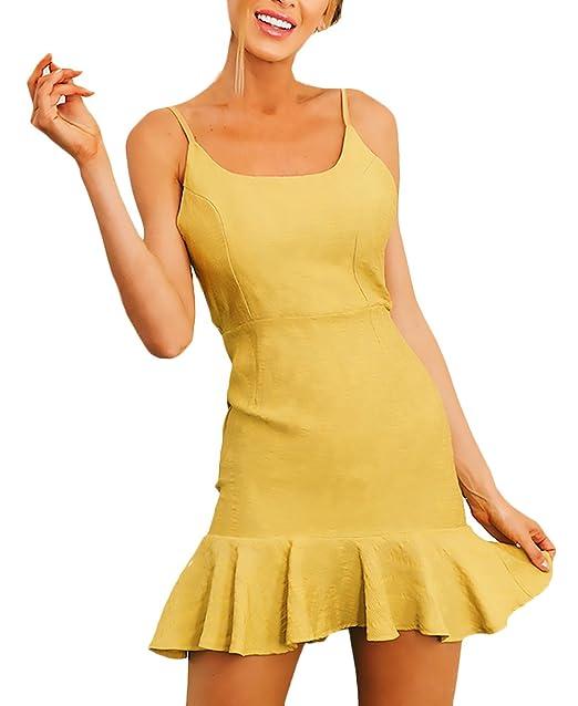 Vestidos Verano Mujer Elegantes Vestidos Cortos Sin Mangas Espalda Descubierta Ropa Dama Moderno Slim Fit Volantes Moda Casual Vestido Playa Vestido ...