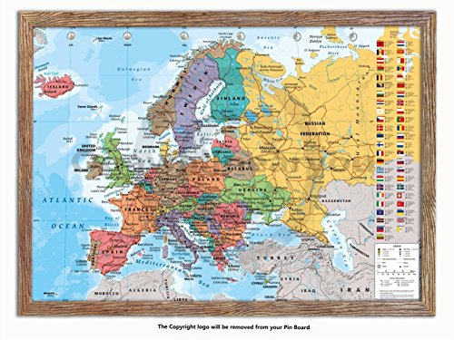 Laminated Posters Framed - Map of Europe - Push Pin Memo Notice Board - Natural Driftwood Effect - Matt Finish - Measures 96.5 x 66 cms (38 x 26 Inches - Approx) ()