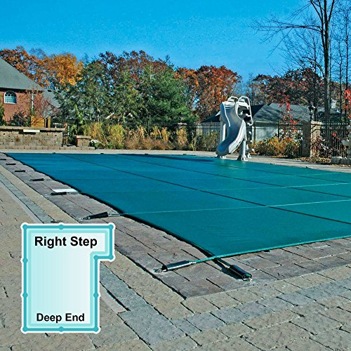 16 x 32 Foot Rectangle Mesh Safety Pool Cover with 4 x 8 Foot Right Step
