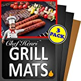 Chef Henri Grill Mat Lifetime Guarantee Set Of 3 Heavy Duty, Non-Stick Grilling Mats and Baking Mat – 16 x 13 Inch Use on Gas, Charcoal, Electric BBQ Grills Made With USA Raw Materials