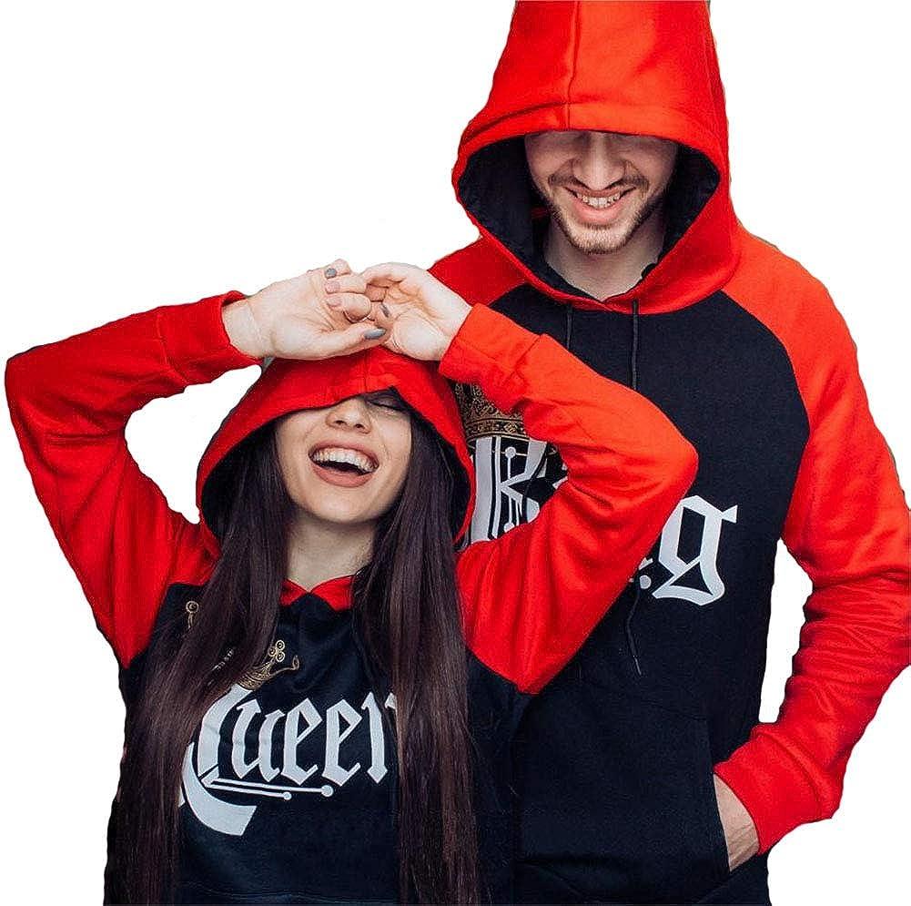 Couple Matching King Queen Crown Raglan Hoodie Pullover Hooded Sweatshirt