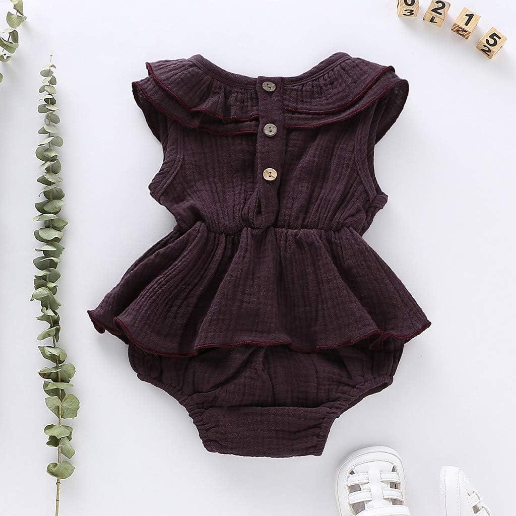 LEXUPE Baby M/ädchen Sommer Neugeborenes Baby Jungen M/äDchen Ruffle Solid Strampler Body Jumpsuit Kleidung