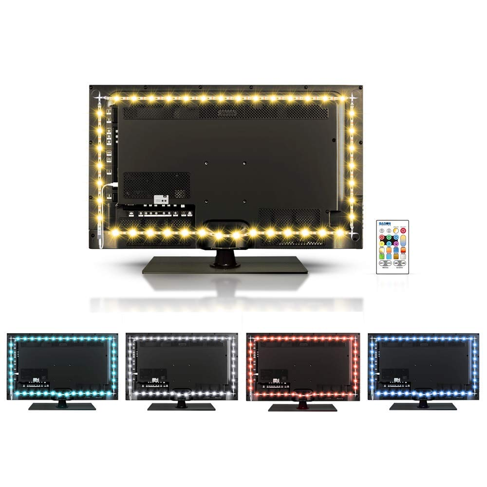 BASON LIGHTING USB LED RGBW TV Backlight Kit for 42 to 50 Inches, Bias Lighting LED Strip for Back of Tv Lighting Home Movie Theater Decor, RGB + Pure White Backlight Strip LightING Sync Switch On/Off