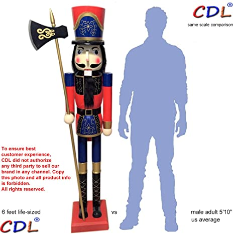 cdl 6ft tall life size largegiant redblue christmas wooden nutcracker soldier