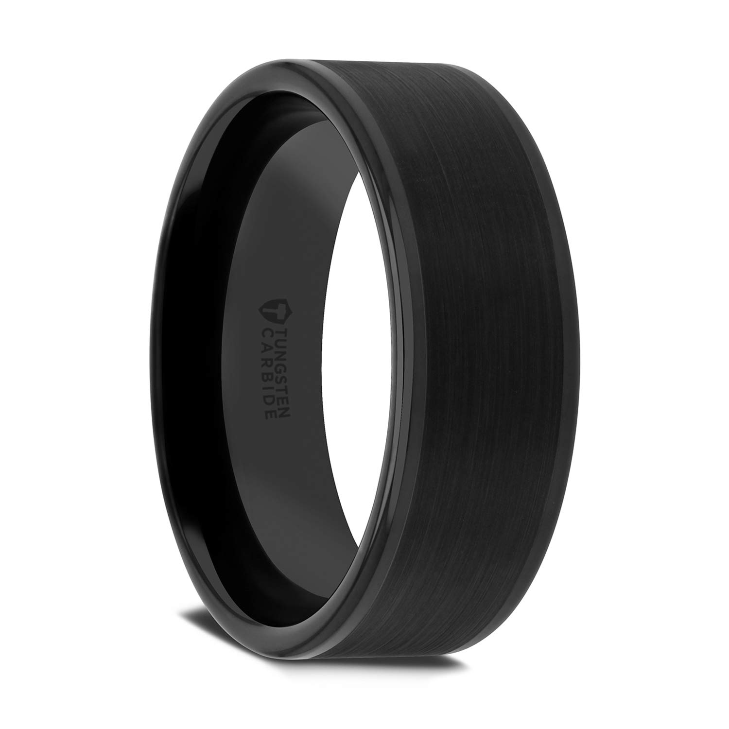 THORSTEN - VULCAN Black Flat Men�s Tungsten Carbide Ring Matte Brushed Finish Polished Edges Comfort Fit Lightweight Durable Wedding Band - 8mm