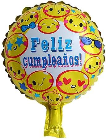 Globos de cumpleaños españoles de 10 pulgadas Globos pequeños de cumpleaños españoles Globos de película de aluminio Feliz cumpleaños 50 piezas-Bola emoji de cumpleaños española de 10 pulgadas: Amazon.es: Hogar