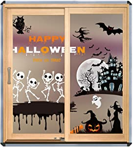Artiflr 3 Pack Halloween Decorations Window Clings Decor, Cute Pumpkin Ghost Trick or Treat Kids School Home Office Accessories Party Supplies Gifts