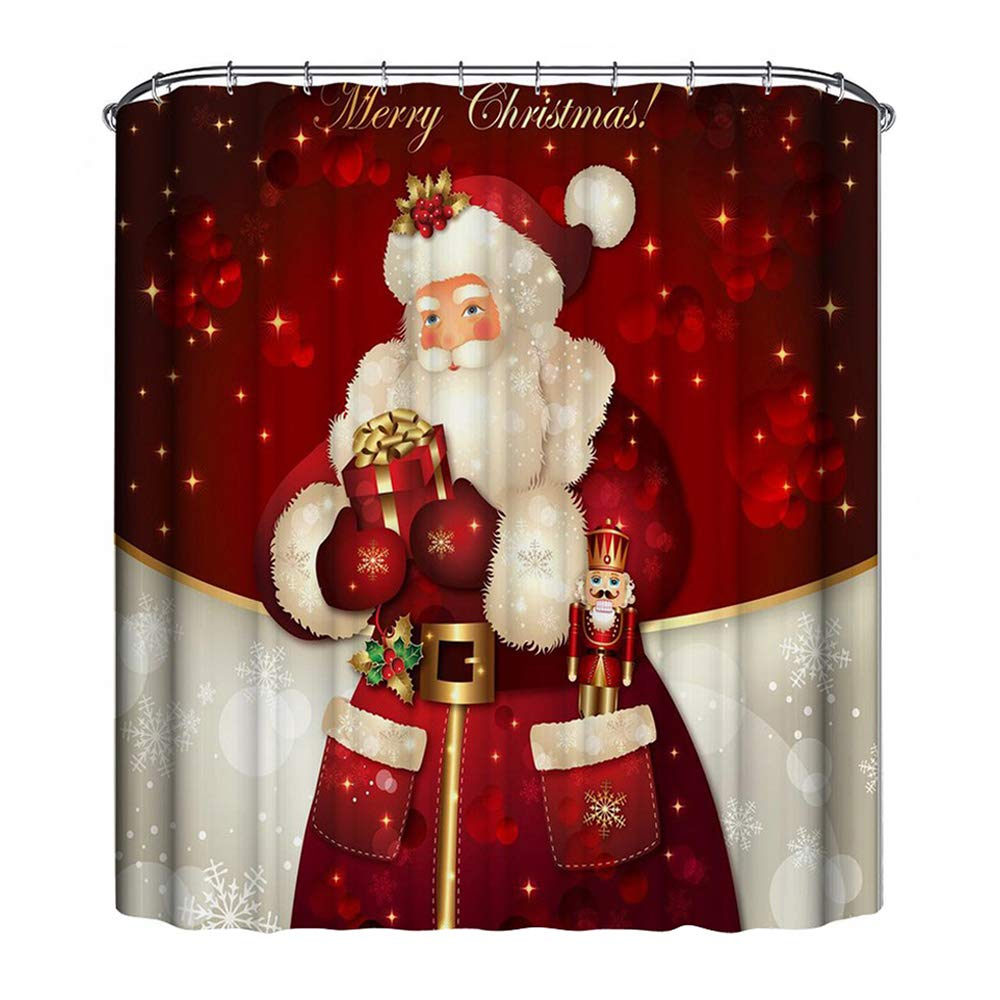 Purewing 71''x 71'' Christmas Shower Curtain, Xmas Decor Santa Claus Merry Christmas Print, Waterproof Mildew Resistant Polyester Fabric Shower Curtain, Bathroom Curtain (Santa 1)