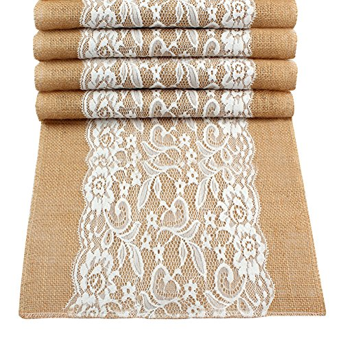 OurWarm 20pcs Vintage Lace Hessian Burlap Table Runner 12 x 42 Inch Natural Jute Country Wedding Party Decoration by OurWarm