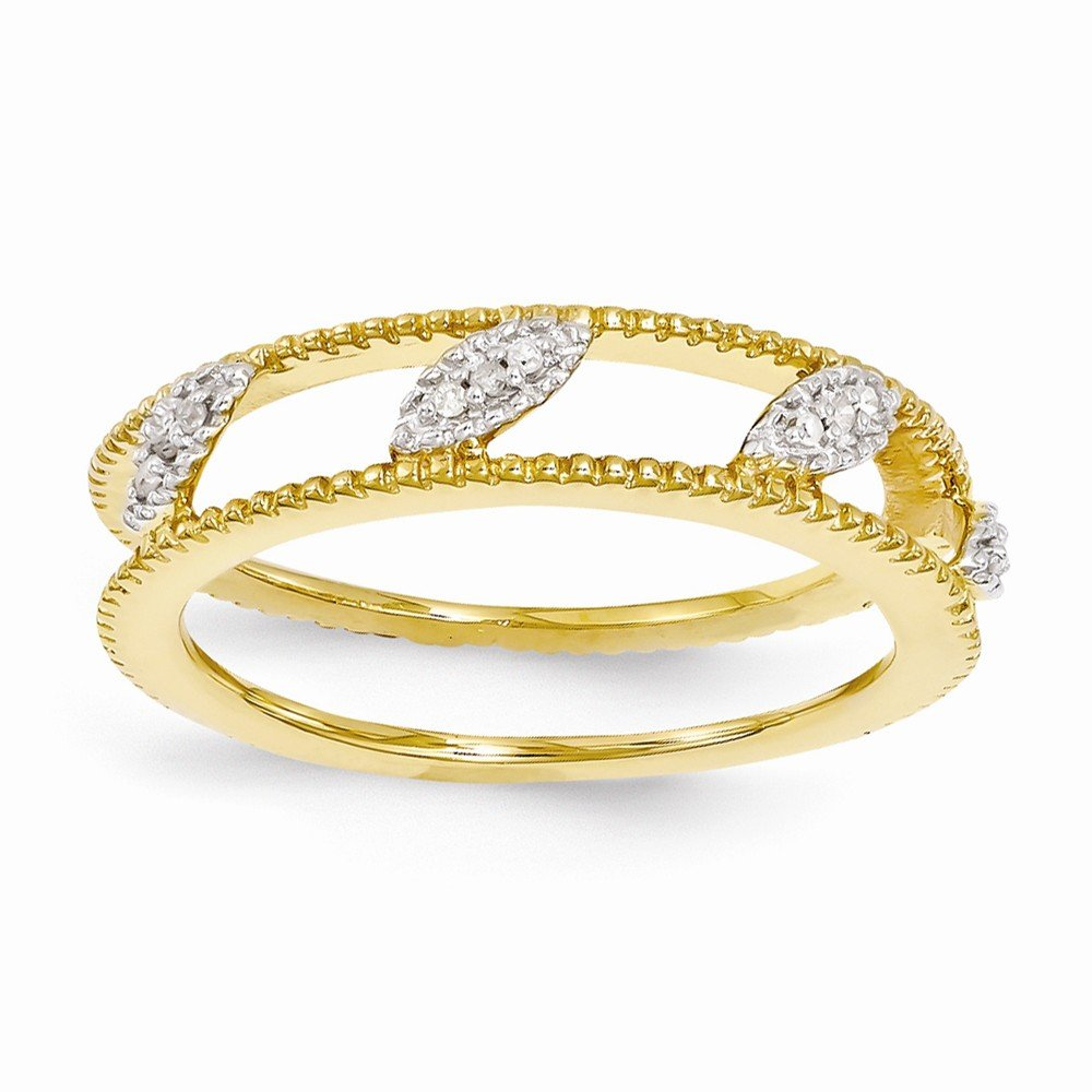 Sterling Silver Stackable Expressions Gold-plated Diamond Jacket Ring