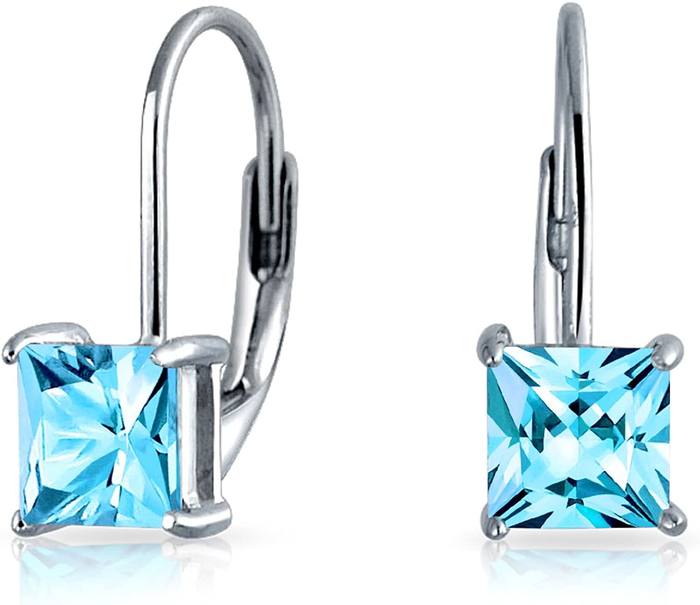 Bling Jewelry 925Plata de Ley Corte Princesa CZ Leverback Pendientes de gota