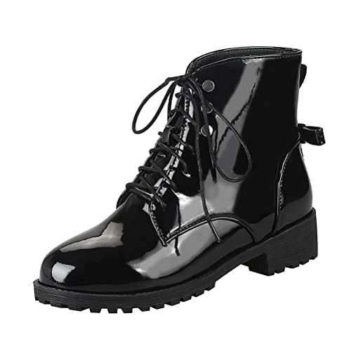 black patent lace up ankle boots for