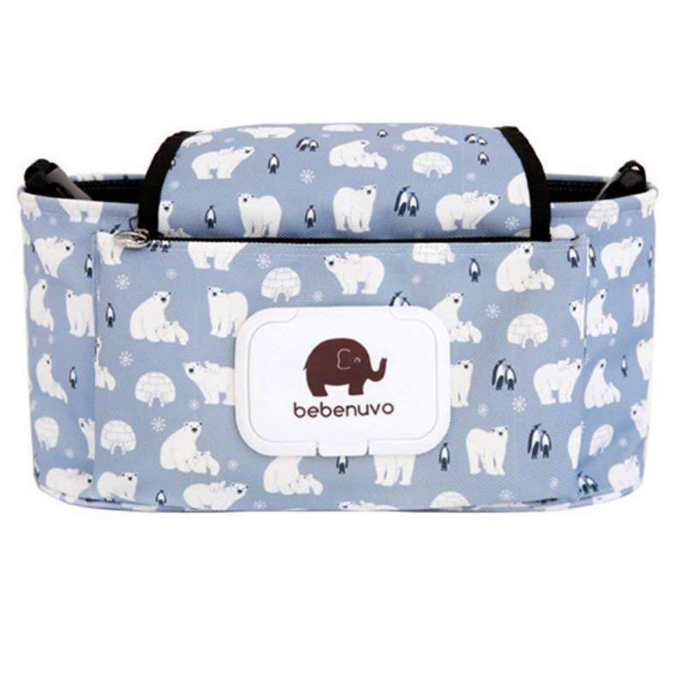 Cochecito de bebé Organizador bolsa de pañales con soporte para teléfono móvil - ajuste universal y cochecitos - White Bear Inchant
