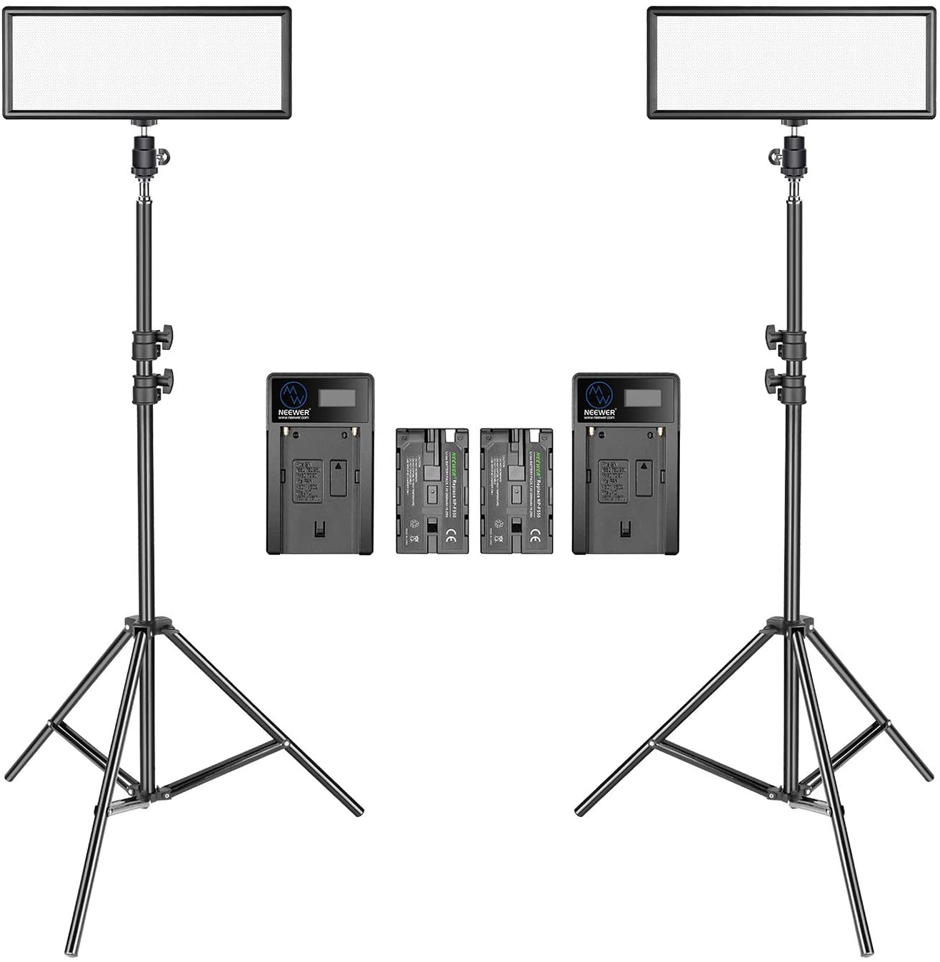 3200K-5600K Bi-Color Dimmable LED Panel Neewer 2 Packs Super Slim LED Video Light with Light Stand Photography Lighting Kit Li-ion Battery and Charger for Camera Photo Portrait Children Shooting