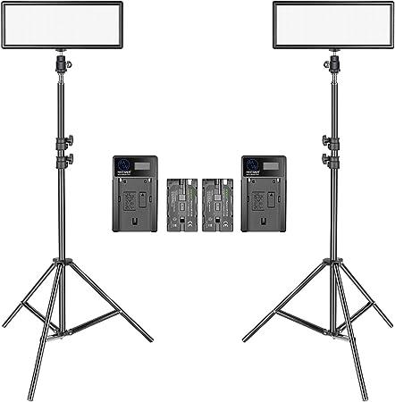 Neewer 2 Pacchetto LED Video Luce Ultra Sottile con Stand di Luce per Fotografia 3200K-5600K Bi-Colore Dimmerabile LED Panello Batteria di Litio e caricabatterie per fotocamera Ritratto fotografico