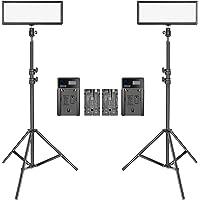 Neewer 2 Packs Super Slim LED Video Light with Light Stand Photography Lighting Kit, 3200K-5600K Bi-Color Dimmable LED…