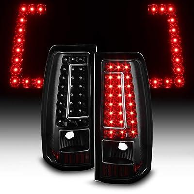 ACANII - For 2003-2006 Chevy Silverado 1500 2500HD 3500 Black LED Tail Lights Brake Lamps Set: Automotive