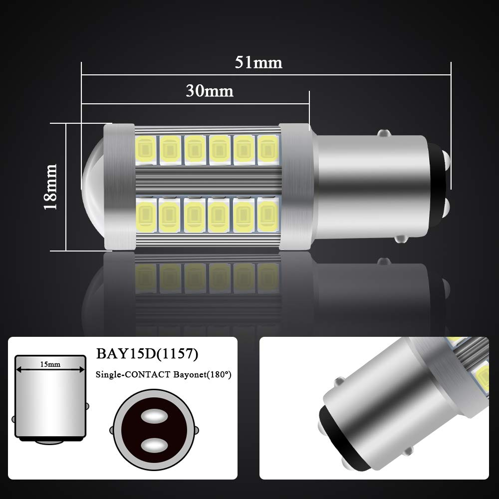 4 X 1156BAU15S PY21W LED Ampoule Blanc Super Brillant 900LM 5630 33 SMD Feu de Recul Stationnement Position Arri/ère Antibrouillard Arri/ère Ampoule 12-30V