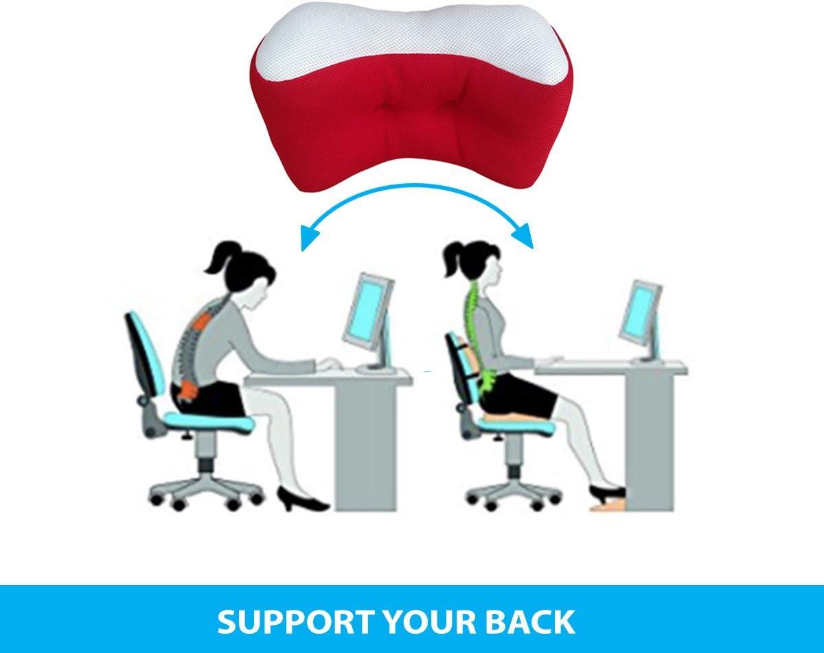 Sedia dell/'Ufficio da utilizzare a letto e in poltrona Red Divano e AutoIl cuscino ideale per la schiena Cuscino per Supporto Lombare per Dolori Lombari,Schienale Ergonomico per Casa