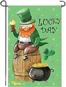 Shmbada St Patrick's Day Garden Flag, Double Sided Outdoor Yard Lawn Porch Patio Farmhouse Decoration Flag Irish Green Shamrock Leprechaun Gold Holiday Lanes Beer, 12 x 18 Inch