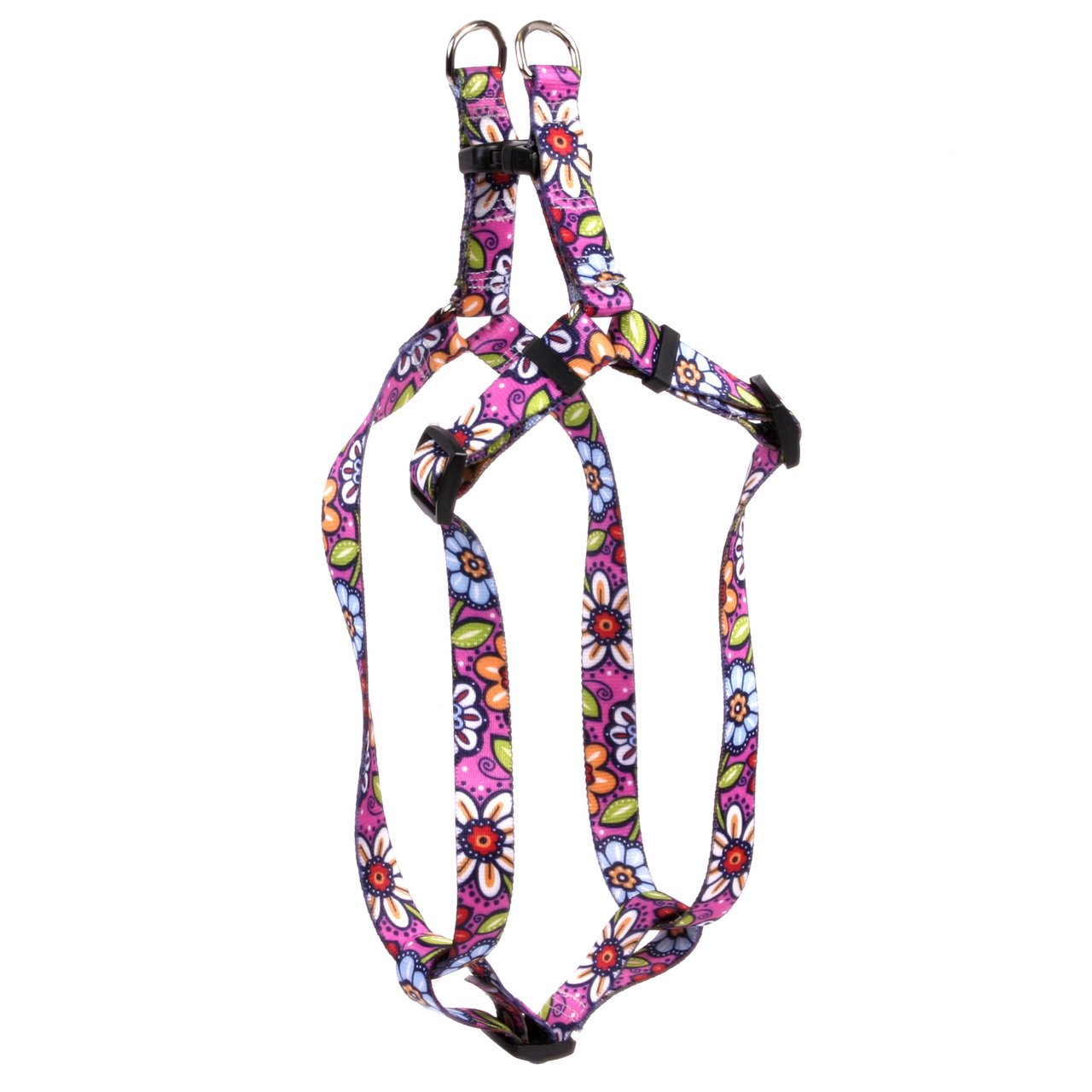 Yellow Dog Design Standard Step-in Harness, Pink Garden, Medium 15'' - 25''