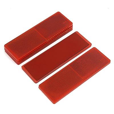 sourcingmap® Voiture plastique rouge plaque réfléchissante Gluant 14,5 cm réflecteur w/o Trous 5PCS