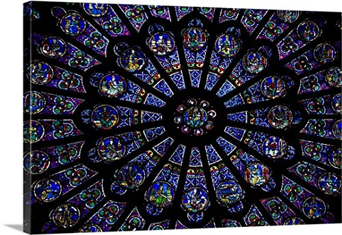 Canvas On Demand Premium Thick-Wrap Canvas Wall Art Print entitled Rose window of a cathedral, Notre Dame, Paris, Ile-De-France, France - Capital Pa City