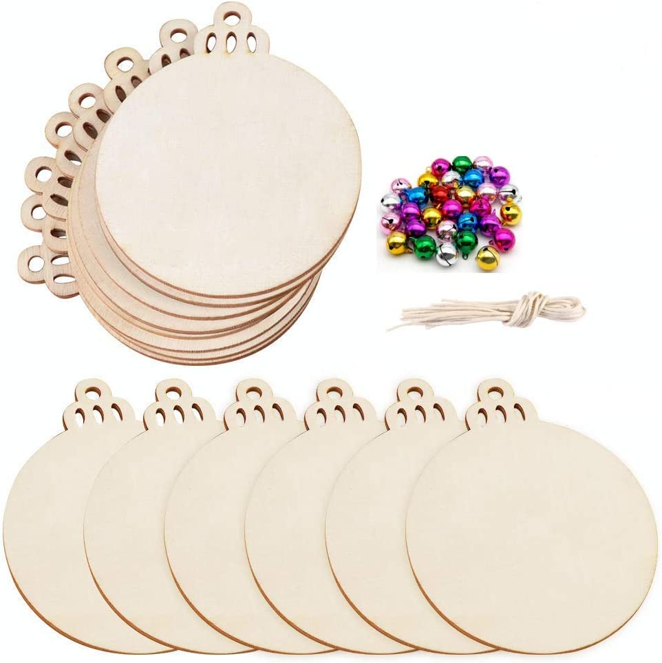 sauvoo 30 Christmas bell+30 pcs Wooden Discs//Tree//Snowflate with Holes Wooden DIY Christmas Ornaments Hanging Decorations 3.5 Unfinished Predrilled Natural Wood Slices for Crafts Centerpieces