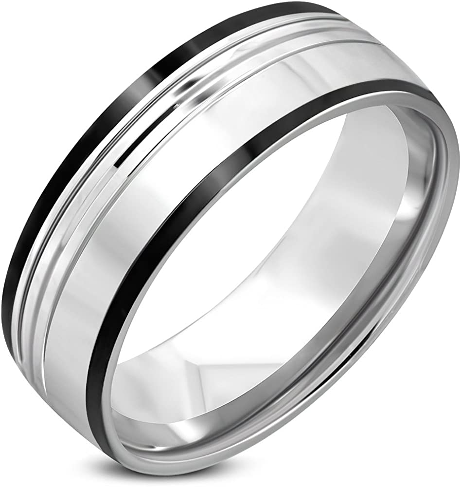 Stainless Steel Section Grooved Comfort Fit Half-Round Wedding Band Ring