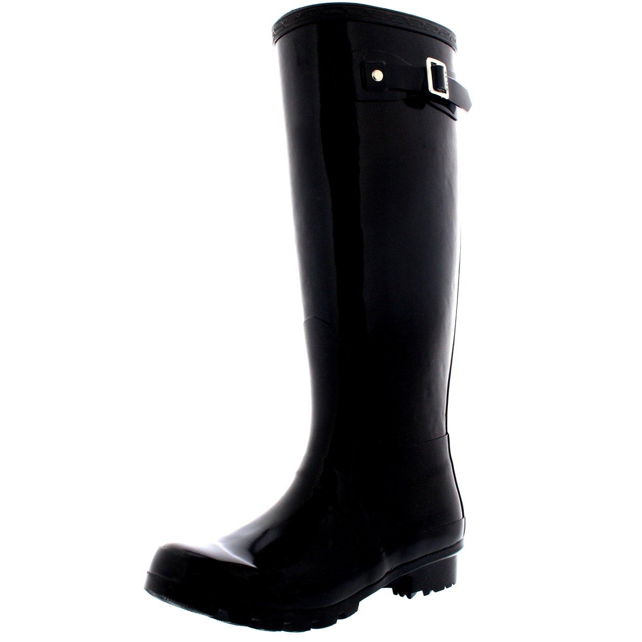 Womens Original Tall Gloss Winter Waterproof Wellie Rain Wellington Boot - Black - 9-40 - CD0007