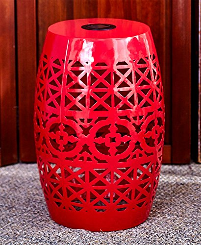 Metal Outdoor Side Table (The Lakeside Collection Solar Metal Accent Table Red)